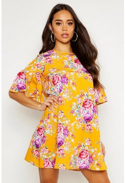 Womens Mustard Floral Round Neck Ruffle Sleeve Shift Dress