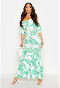 Womens Green Palm Print Belted Ruffle Maxi Dress