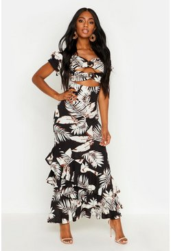 Womens Black Palm Print Ruffle Maxi Dress