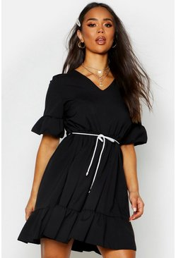 Black Ruffle Sleeve Smock Dress