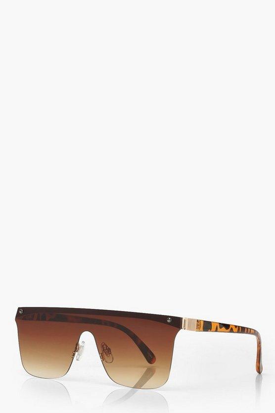 Tortoiseshell Frameless Visor Sunglasses