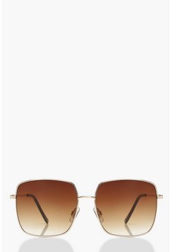 Womens Gold Brown Fade Square Frame Sunglasses
