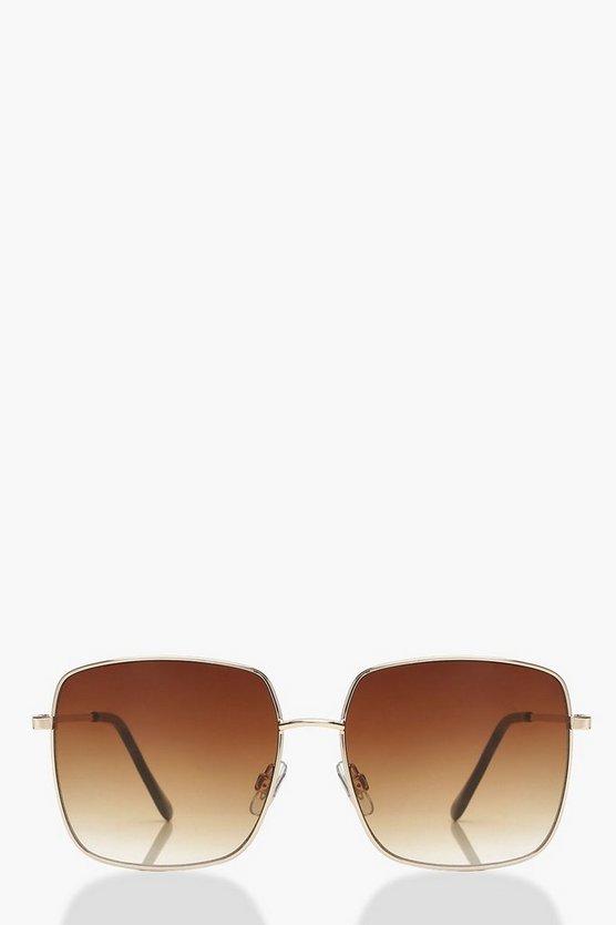Brown Fade Square Frame Sunglasses