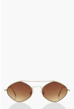 Dam Gold Diamond Shape Bar Metal Frame Sunglasses