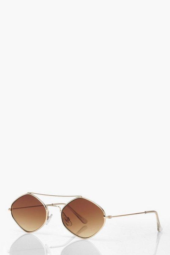 Diamond Shape Bar Metal Frame Sunglasses