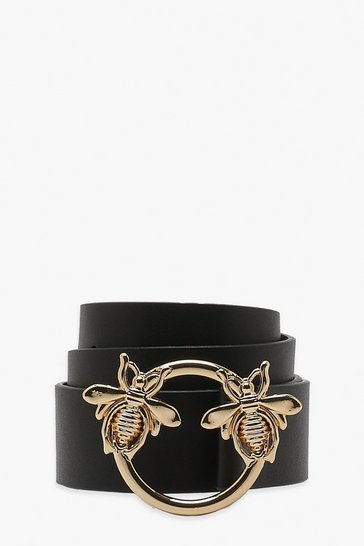 Womens Black Bee Ring Boyfriend Belt