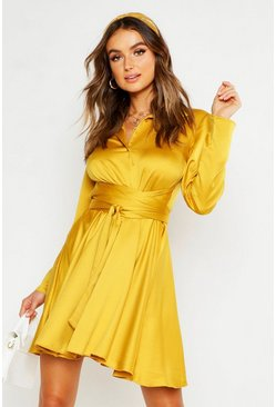Mustard Wrap Around Detail Shirt Dress