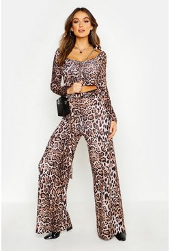 Womens Leopard High Tailored Wide Leg Trousers