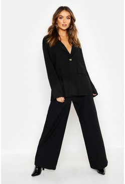 Black Tailored High Waisted Wide Leg Trousers