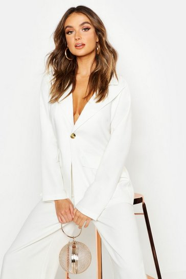 Womens Cream Tailored Dad Blazer