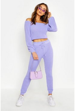 Womens Lilac Knitted One Shoulder Jogger Set