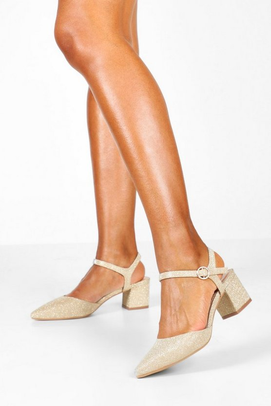 Glitter Block Heel Pointed Ballets