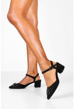 Womens Black Embellished Block Heel Pointed Ballets