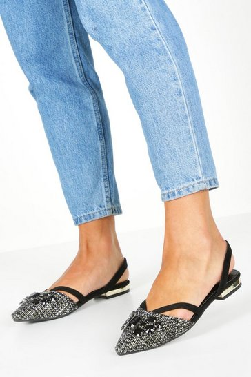 Womens Black Tweed Embellished Pointed Flats