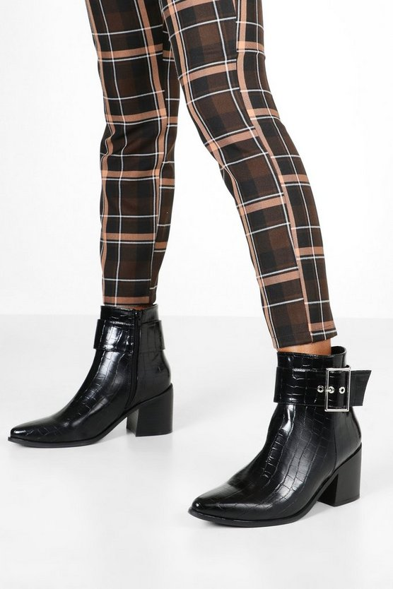 Croc Buckle Detail Pointed Boots