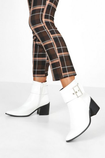 White Croc Buckle Detail Pointed Boots