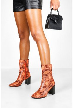 Womens Orange Snake Block Heel Sock Boots
