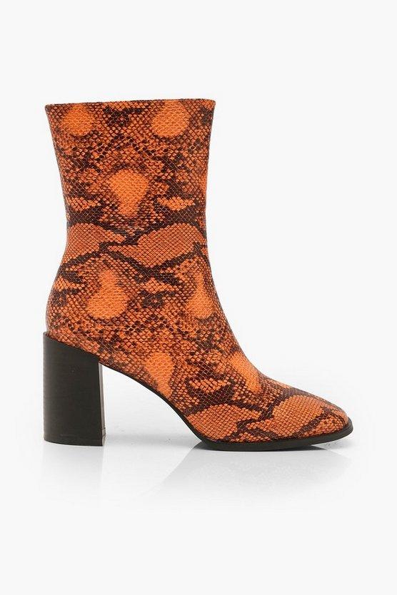 Orange Snake Block Heel Sock Boots