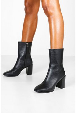 Dam Black Block Heel Square Toe Shoe Boots