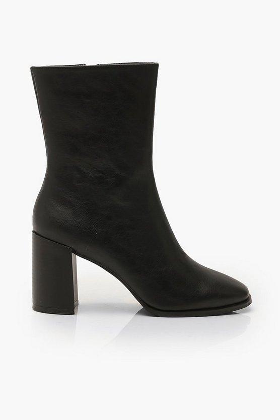 Block Heel Square Toe Shoe Boots