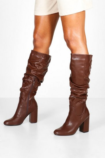 Womens Brown Rouched Block Heel Knee Boots