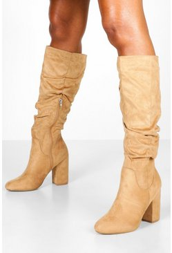 Tan Rouched Knee High Boots