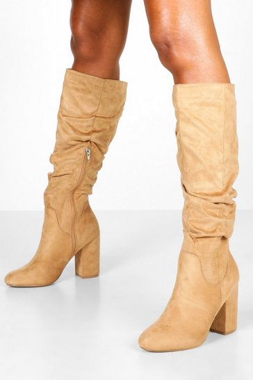 Womens Tan Rouched Knee High Boots