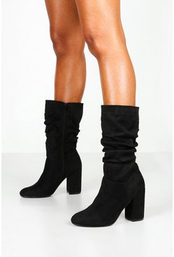 Womens Black Calf High Rouched Boots