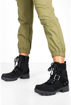 Womens Black Chunky Buckle Detail Hiker Boots