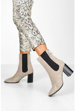Womens Grey Elastic Panel Block Heel Sock Boots
