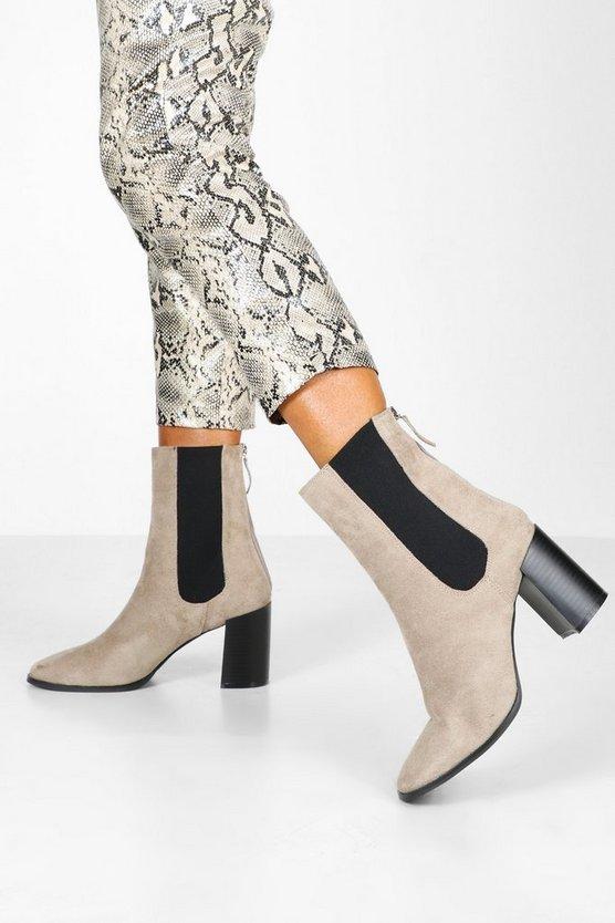 Elastic Panel Block Heel Sock Boots