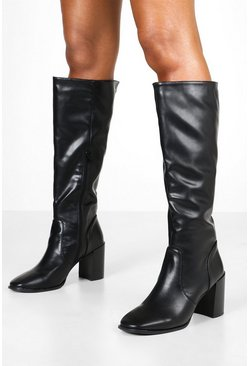 Womens Black Snake Square Toe Knee High Boots