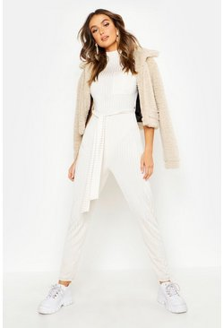 Womens Ivory Grown On Neck Belted Jumpsuit