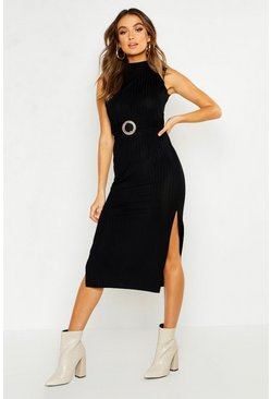 Womens Black Rib Tortoise Shell Buckle Midi Dress