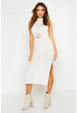 Ivory Rib Tortoise Shell Buckle Midi Dress