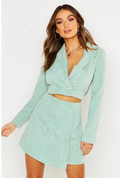 Sage Cord Tailored Cropped Blazer