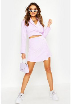 Womens Lilac Cord Tailored Button Wrap Mini Skirt