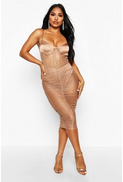 Womens Nude Mesh Corset Satin Ruched Midi Dress