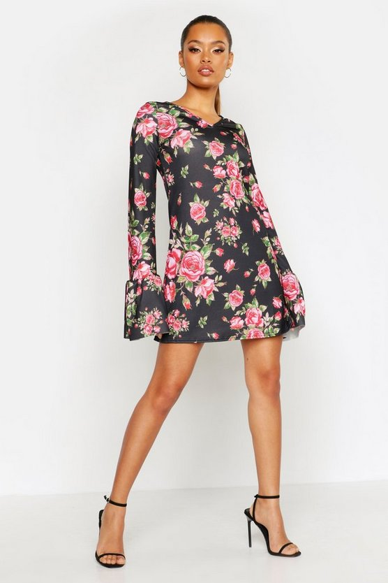 Womens Black Floral Ruffle Sleeve Shift Dress