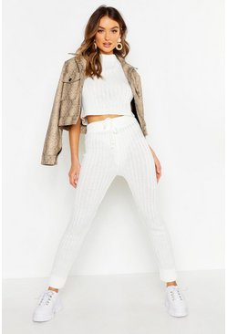 Womens Ivory Knitted High Waisted Joggers