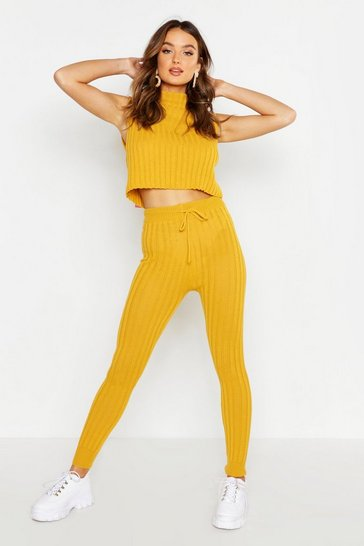 Womens Mustard Knitted High Waisted Joggers