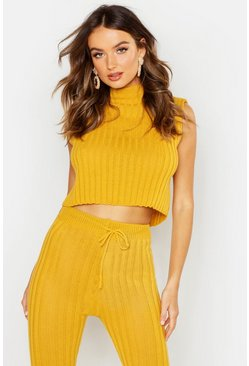 Womens Mustard Knitted High Neck Crop Top