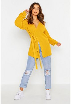 Womens Mustard Knitted Side Tie Cardigan