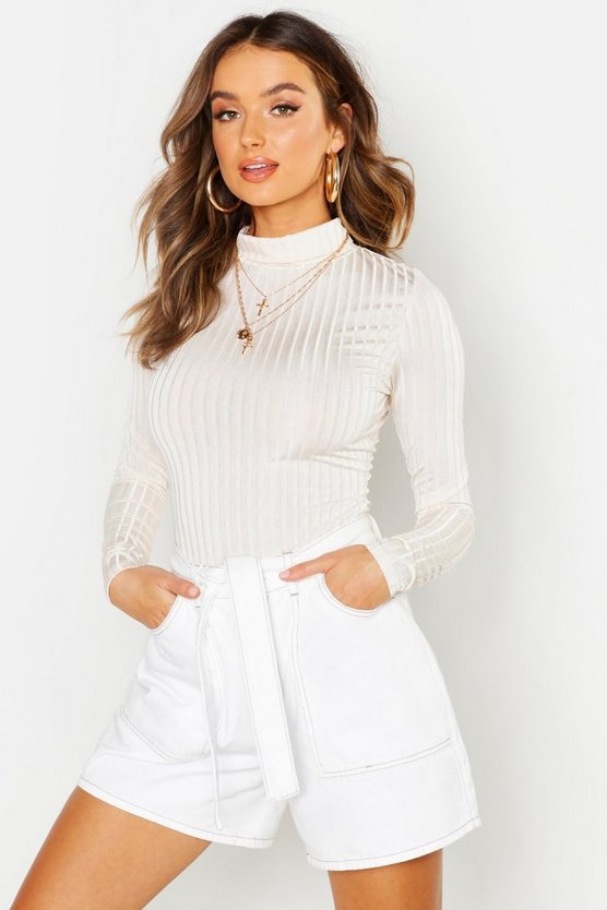 Ivory Rib Turtle Neck Long Sleeved Top