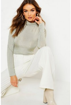 Womens Sage Rib Turtle Neck Long Sleeved Top