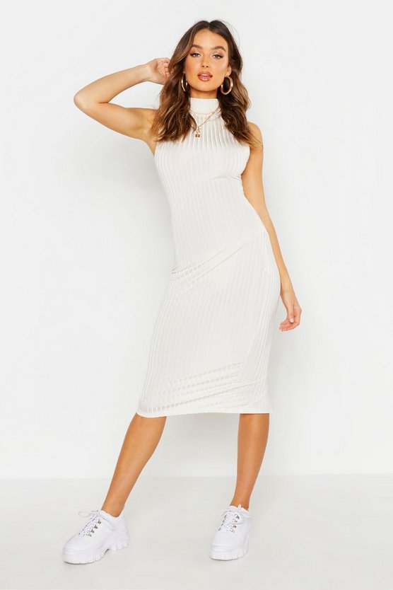 Womens Ivory Rib Rouched Detail Top + Midi Skirt Co-ord