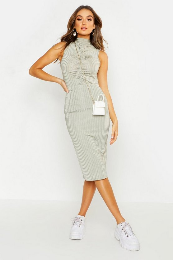 Rib Rouched Detail Top + Midi Skirt Co-ord