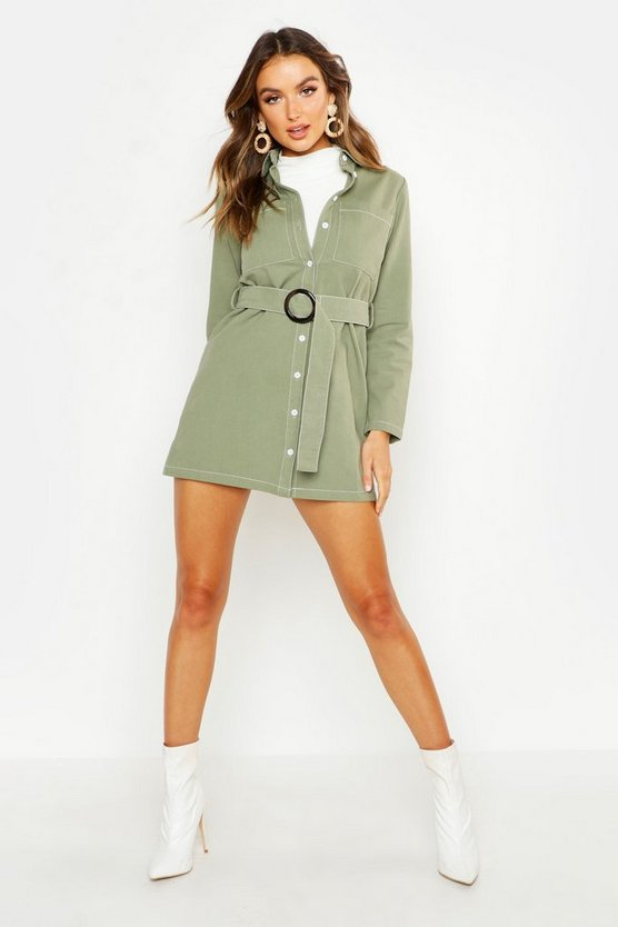Sage Utility Buckle Belted Shirt Dress