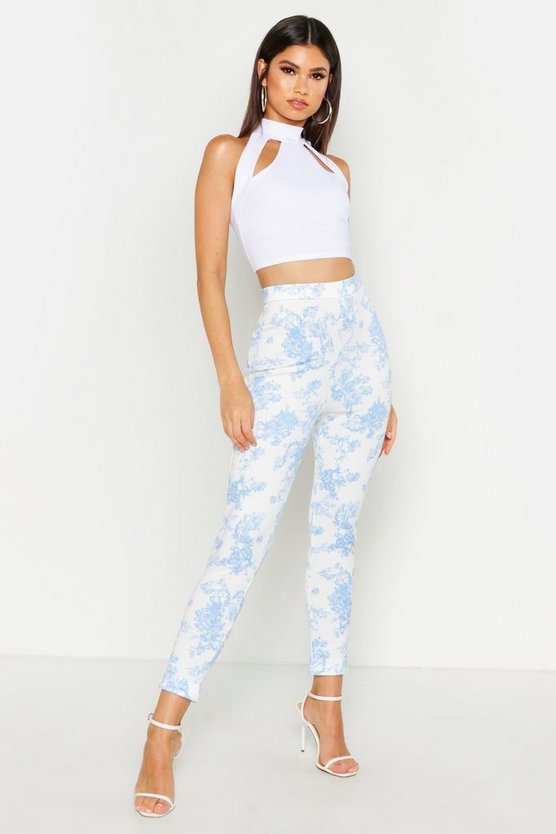 Womens Blue Vintage Floral Print High Waist Skinny Trousers