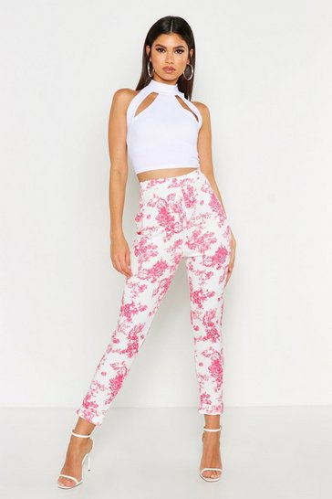 Womens Pink Vintage Floral Print High Waist Skinny Trousers